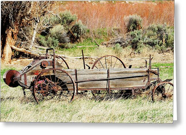 Hay Wagon At Butch Cassidy's Home Greeting Card by Dennis Hammer