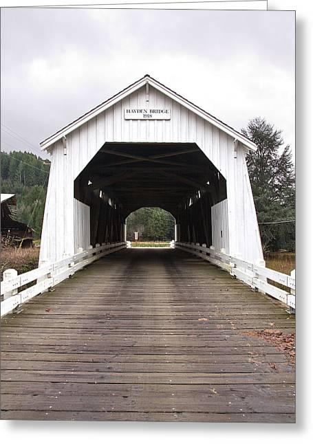 Hayden Bridge Covered Bridge Greeting Card by John Higby