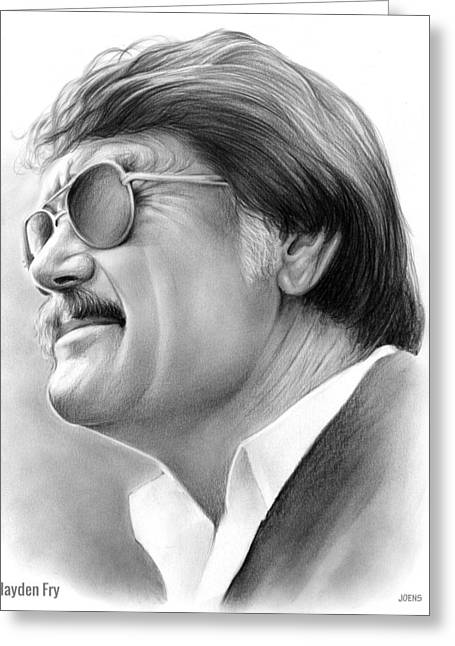 Hayden Fry Greeting Card by Greg Joens
