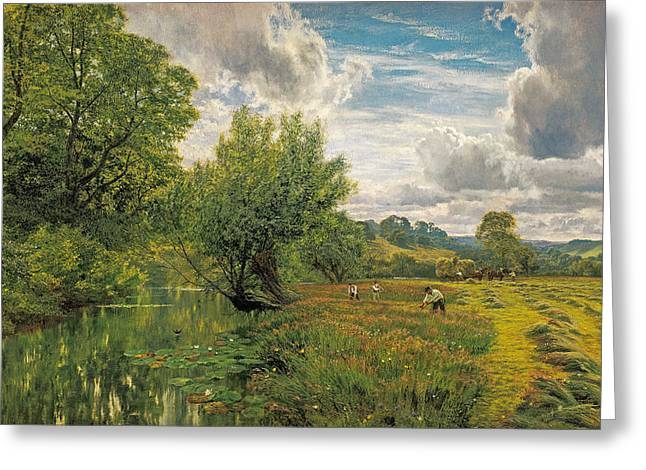 Hayfield Near Days' Lock. Oxon Greeting Card by George Vicat Cole