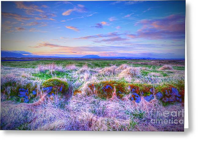 Hayfield Near Selfoss Iceland Greeting Card