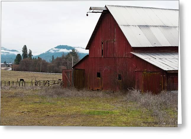 Hayfork Red Barn Greeting Card by Lorraine Devon Wilke