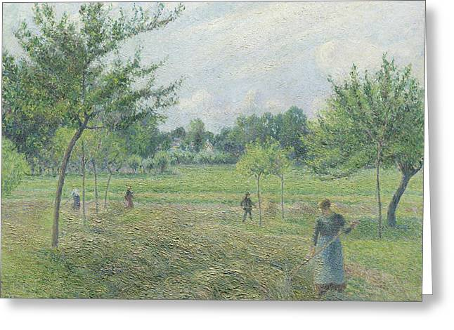 Haymaking At Eragny Greeting Card by Camille Pissarro