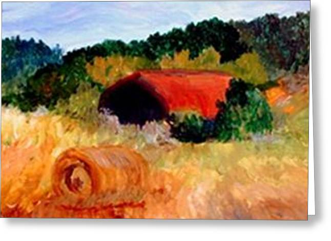 Greeting Card featuring the painting Hayrolls by Gail Kirtz
