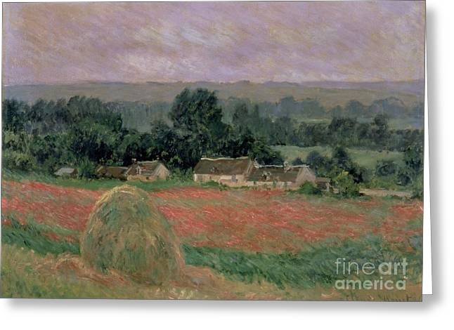 Crops Greeting Cards - Haystack at Giverny Greeting Card by Claude Monet