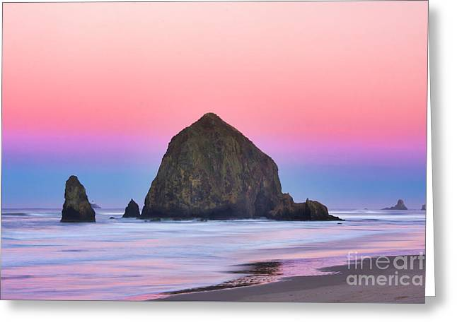 Haystack Rock At Dawn Greeting Card