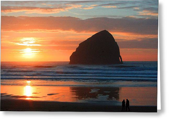Haystack Rock At Sunset Greeting Card