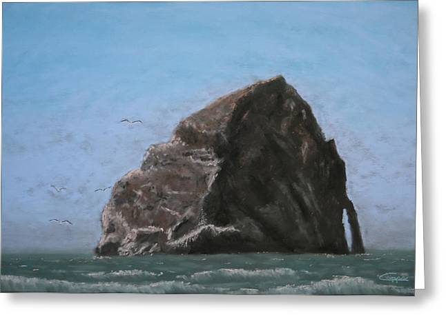 Haystack Rock  Greeting Card by Carl Capps