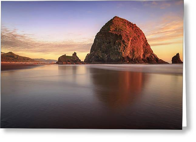 Greeting Card featuring the photograph Haystack Rock Sunset by Adam Romanowicz