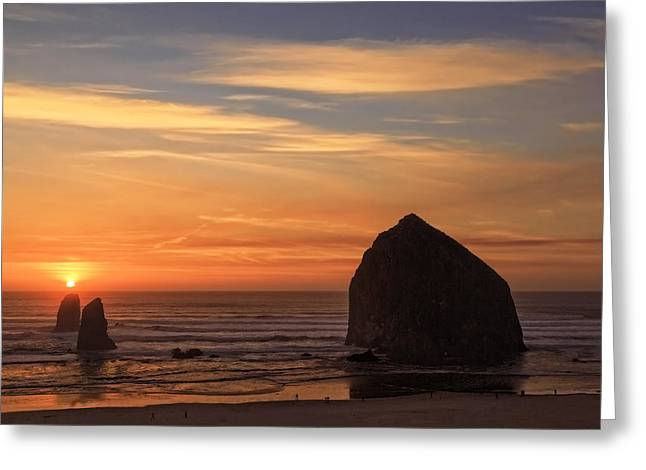 Haystack Rock Ocean Sunset, Cannon Beach, Oregon Greeting Card