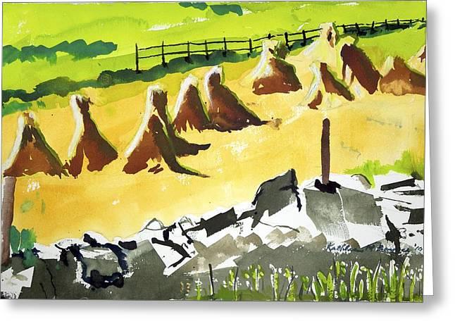 Haystacks And Wall Greeting Card