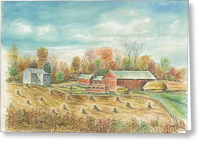 Haystacks At The Farm Greeting Card by Samuel Showman