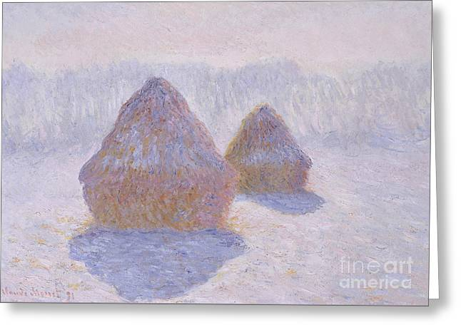 Haystacks  Effect Of Snow And Sun, 1891  Greeting Card by Claude Monet