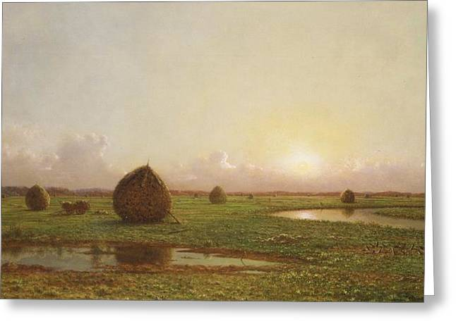 Twilight Greeting Cards - Haystacks Greeting Card by Martin Johnson Heade