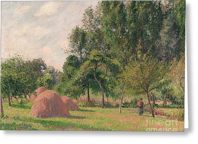 Haystacks, Morning, Eragny, 1899 Greeting Card by Camille Pissarro