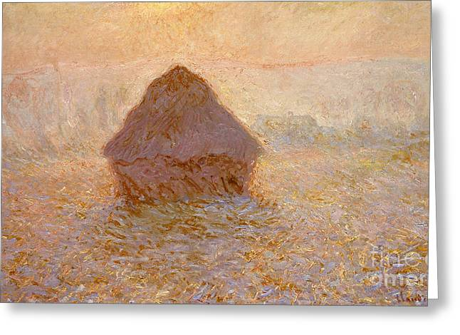 Haystacks, Sun In The Mist Greeting Card by Claude Monet
