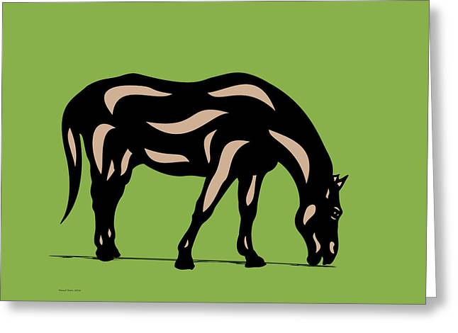 Hazel - Pop Art Horse - Black, Hazelnut, Greenery Greeting Card