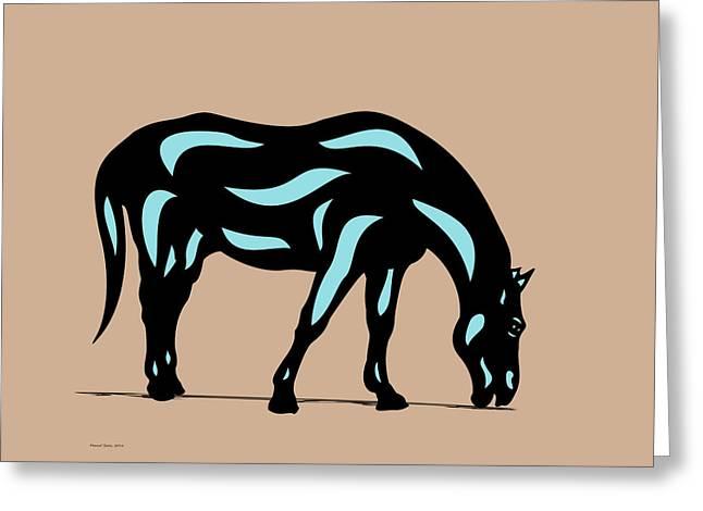 Hazel - Pop Art Horse - Black, Island Paradise Blue, Hazelnut Greeting Card
