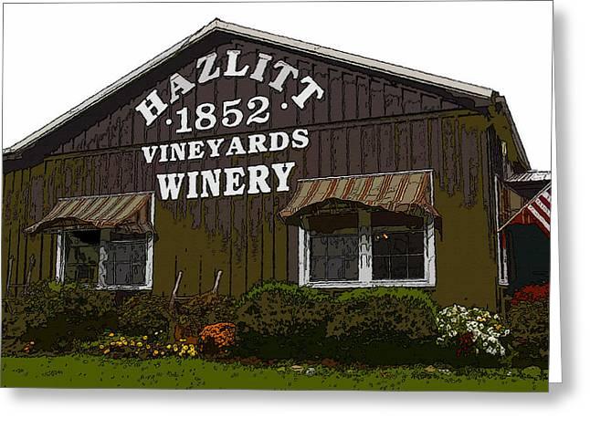 Vineyard Digital Greeting Cards - Hazlitt Winery 1852 Greeting Card by David Lee Thompson