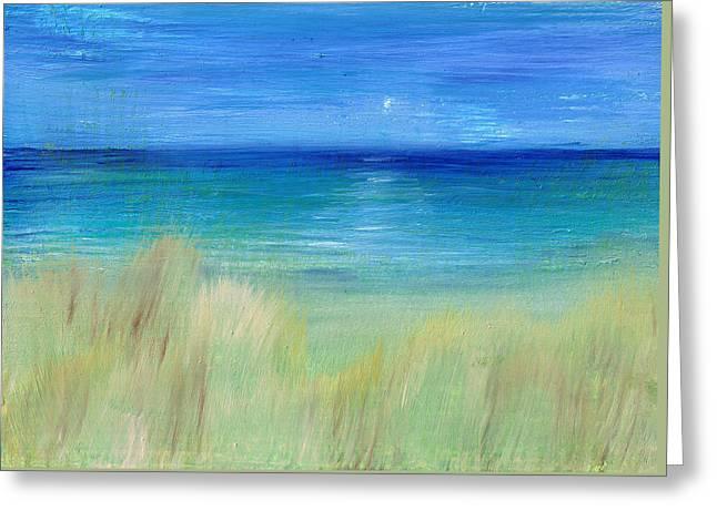 Hazy Beach Greeting Card by Regina Valluzzi