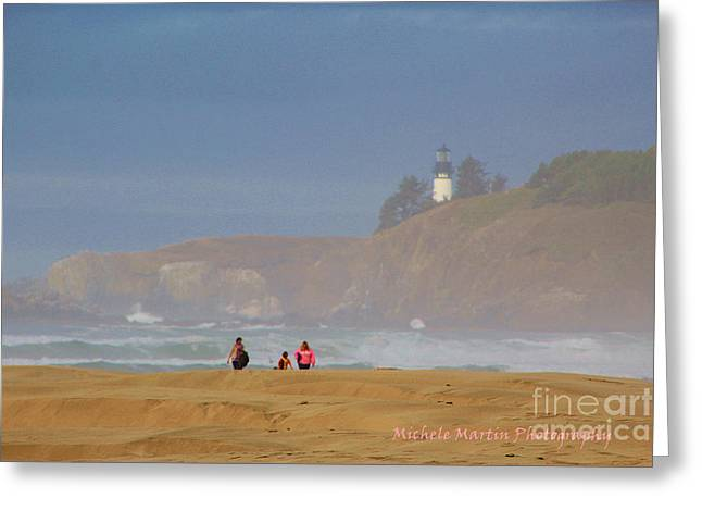 Hazy Day At The Beach Greeting Card by Michele Martin