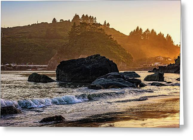 Greeting Card featuring the photograph Hazy Golden Hour At Trinidad Harbor by John Hight