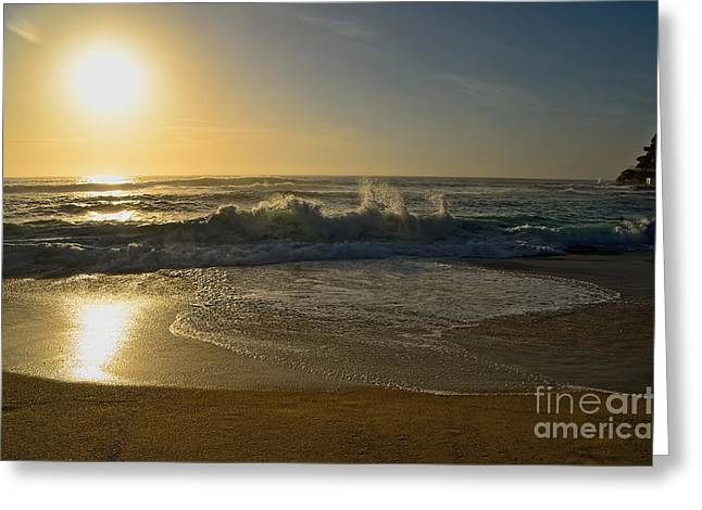 Hazy Golden Sunrise By Kaye Menner Greeting Card by Kaye Menner