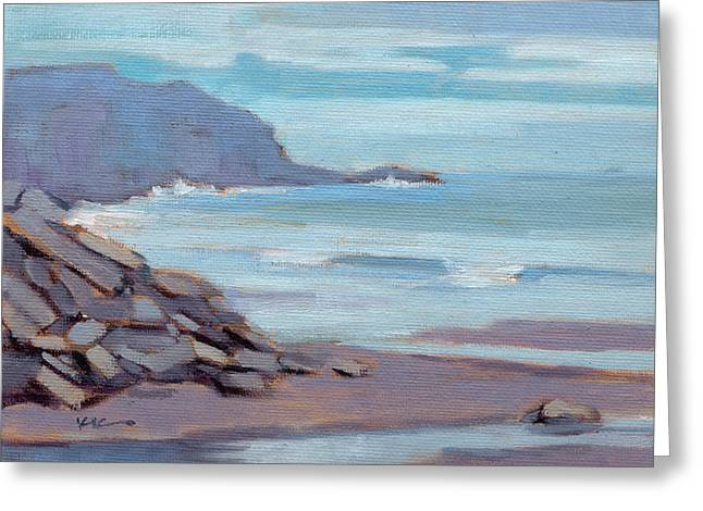 Greeting Card featuring the painting Hazy Morning At Moro Beach  by Konnie Kim