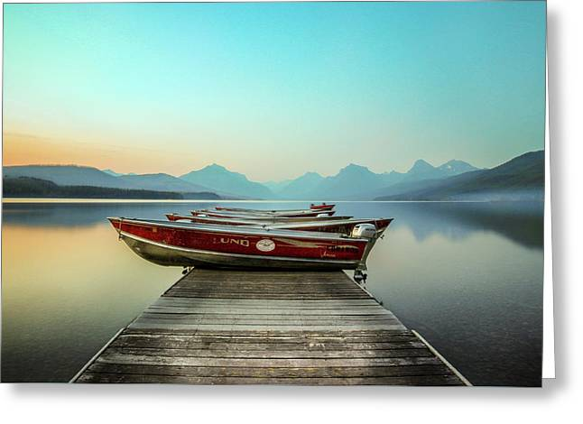 Hazy Reflection // Lake Mcdonald, Glacier National Park Greeting Card by Nicholas Parker
