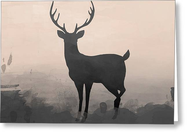 Hazy Stag 2 Greeting Card by Amanda Lakey