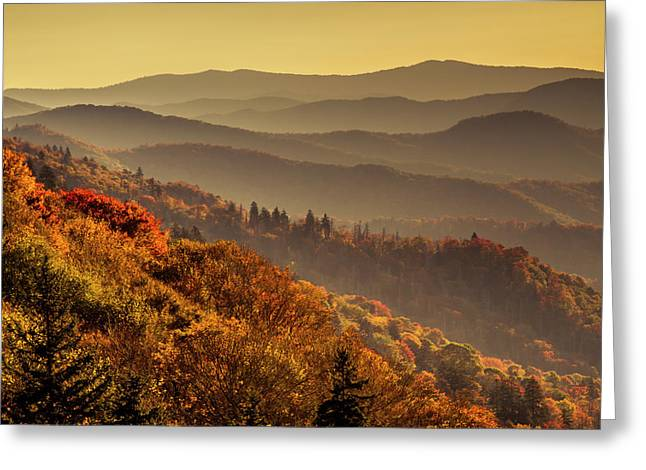 Hazy Sunny Layers In The Smoky Mountains Greeting Card