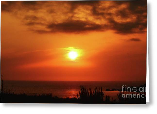 Hazy Sunset In Golden Bay Greeting Card by Stephan Grixti