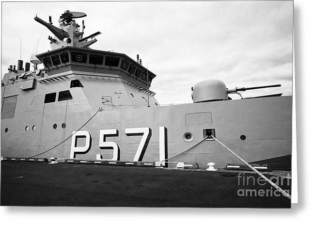 Hdms Ejnar Mikkelsen P571 Royal Danish Navy Patrol Vessel With 76mm Front Gun Reykjavik Iceland Greeting Card