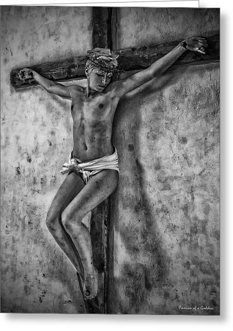 Hdr Crucifix In Black And White Greeting Card by Ramon Martinez