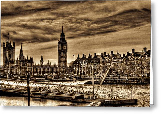 Hdr Sepia Westminster Greeting Card by Andrea Barbieri