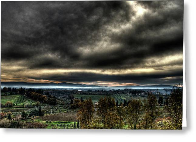 Hdr Tuscany Sunset Greeting Card by Andrea Barbieri