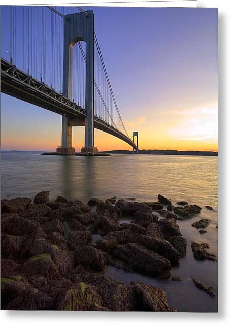 Hdr Verrazano Bridge Sunset Greeting Card by Samuel Kessler