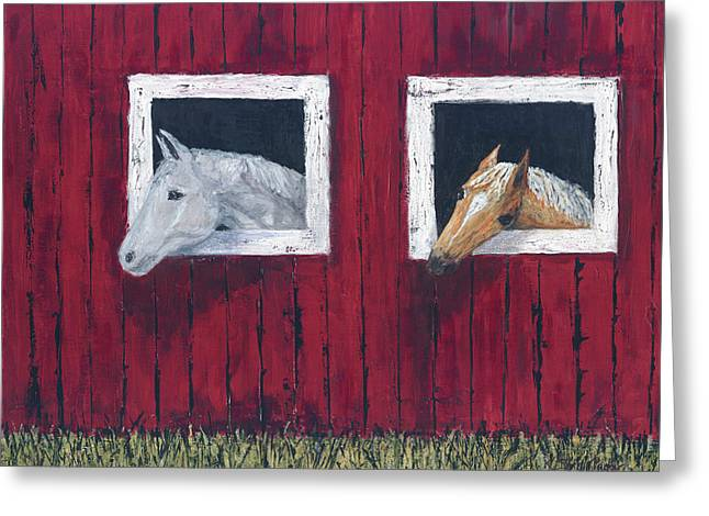 Greeting Card featuring the painting He And She by Kathryn Riley Parker