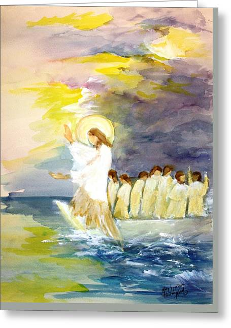 He Calms The Waters Greeting Card by Mary Spyridon Thompson