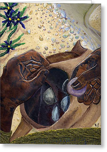 He Chose Him Five Smooth Stones Greeting Card by Dan RiiS Grife