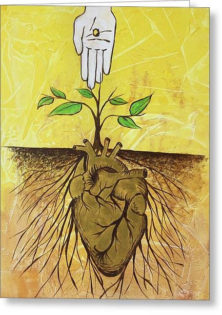 Greeting Card featuring the painting He Cultivates Our Hearts by Nathan Rhoads