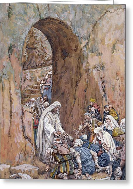 He Did No Miracles Save That He Healed Them Greeting Card by Tissot
