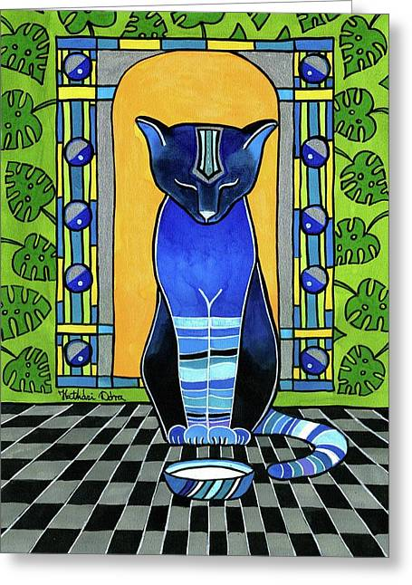 Greeting Card featuring the painting He Is Back - Blue Cat Art by Dora Hathazi Mendes
