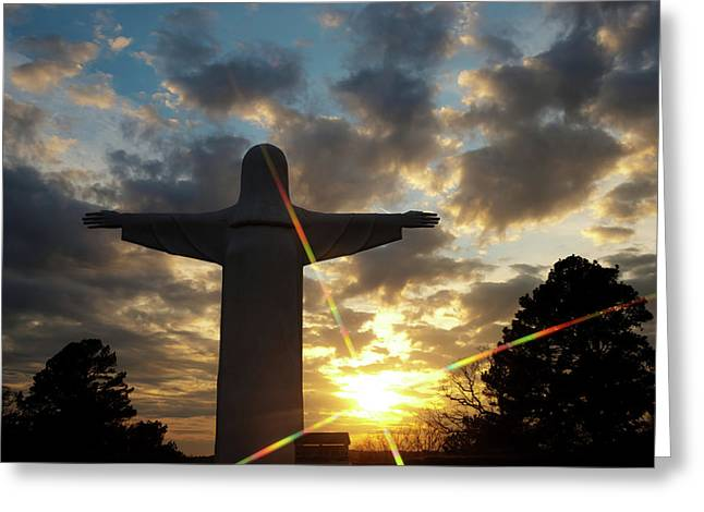 He Is Risen - Christ Of The Ozarks - Eureka Springs Arkansas Greeting Card by Gregory Ballos