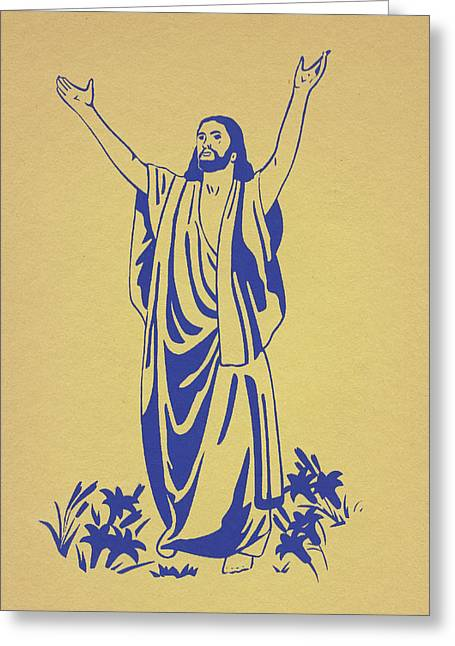 Silk Screen Greeting Cards - He Is Risen Greeting Card by Marsha Elliott