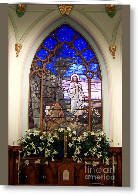 He Is Risen Stained Glass Window Greeting Card
