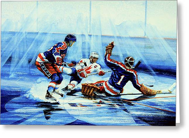 Hockey Paintings Greeting Cards - He Shoots Greeting Card by Hanne Lore Koehler