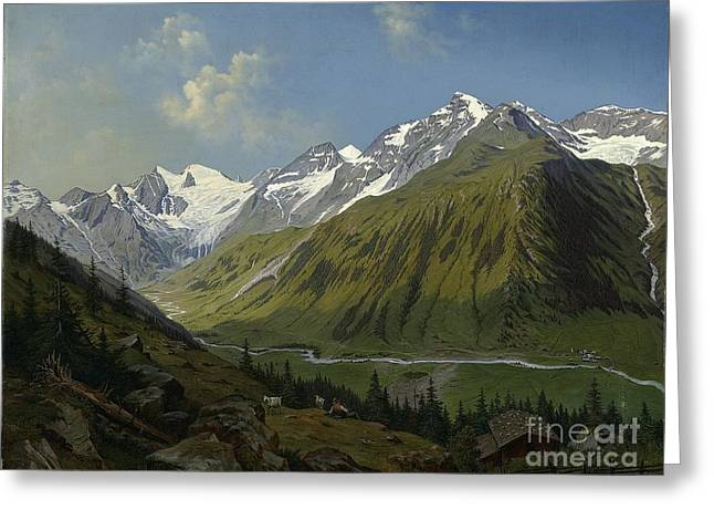 he valley of Ferleiten with the Wiesbachhorn in the Salzburg  Greeting Card by MotionAge Designs
