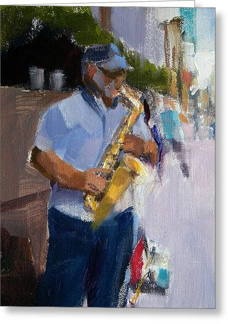 He Was Playing Real Good For Free Greeting Card by Merle Keller