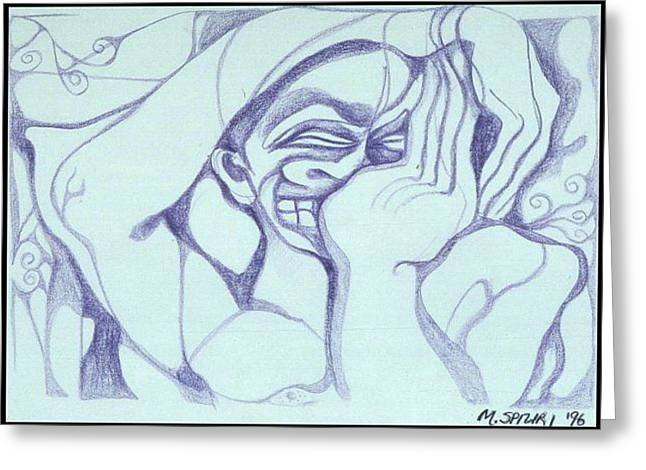 Greeting Card featuring the drawing Head Ache by Michelle Spiziri